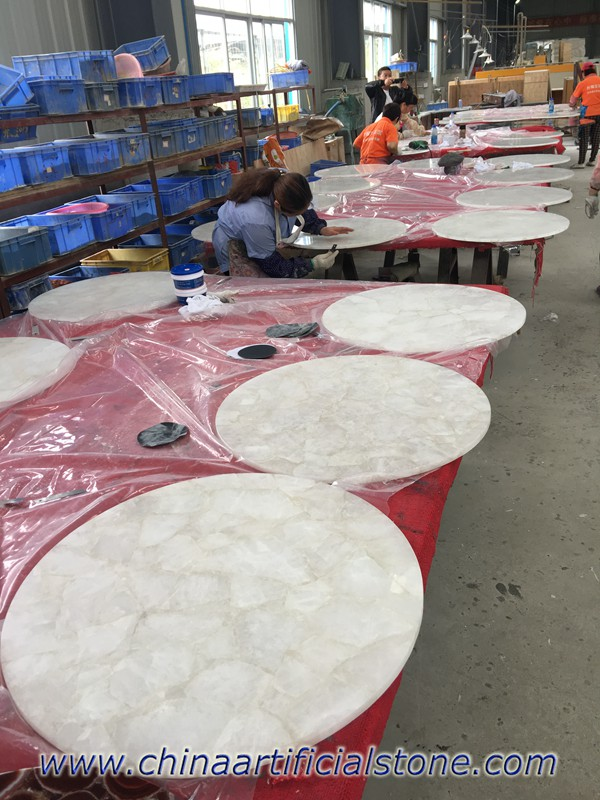 Wholesale Whit Crystal Semi Precious Stone Table tops