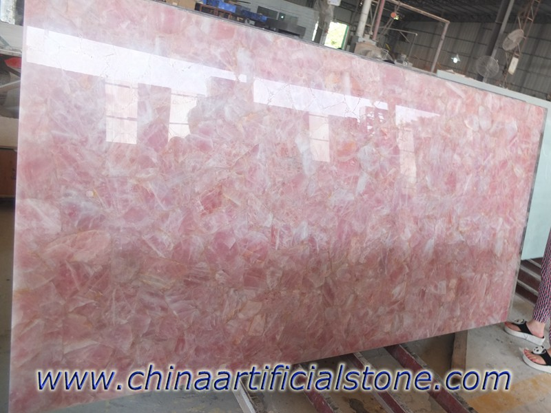 Rose Quartz Semi Precious Stone Slabs