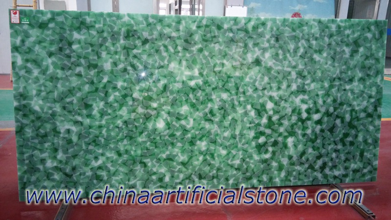 Jade Glass Stone Iceberg green and white