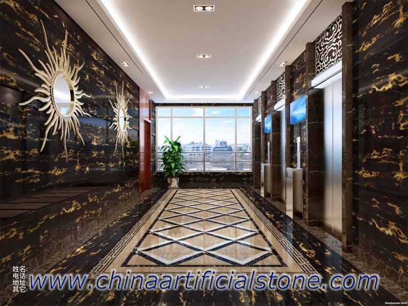China Nero Portoro Marble Wall Facade