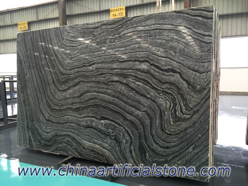 China Black Wood Vein Marble Slabs