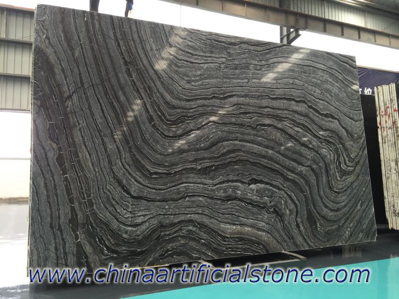 China Black Wood Grain Marble Slabs