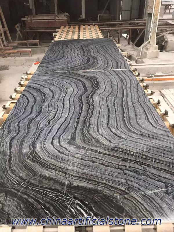 Bookmatched Black Wood Vein Grain Marble slabs