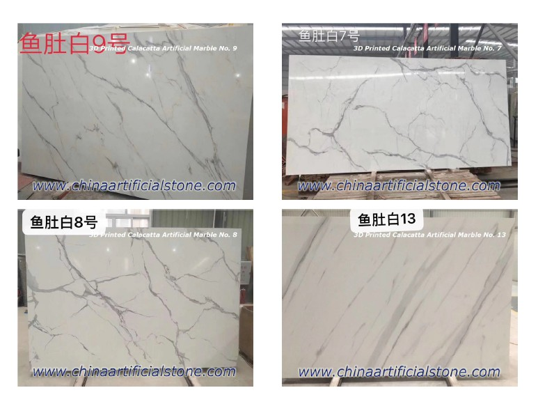 Inject Printing Calacatta White Artificial Marble Slabs
