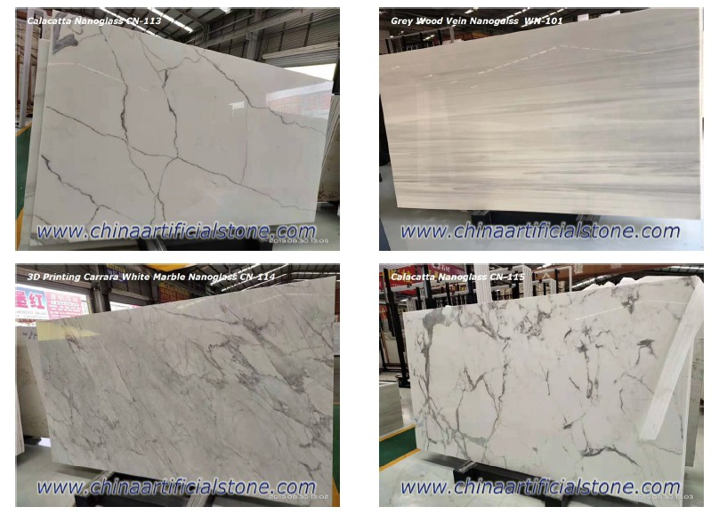 Nano glass White Marble Slabs