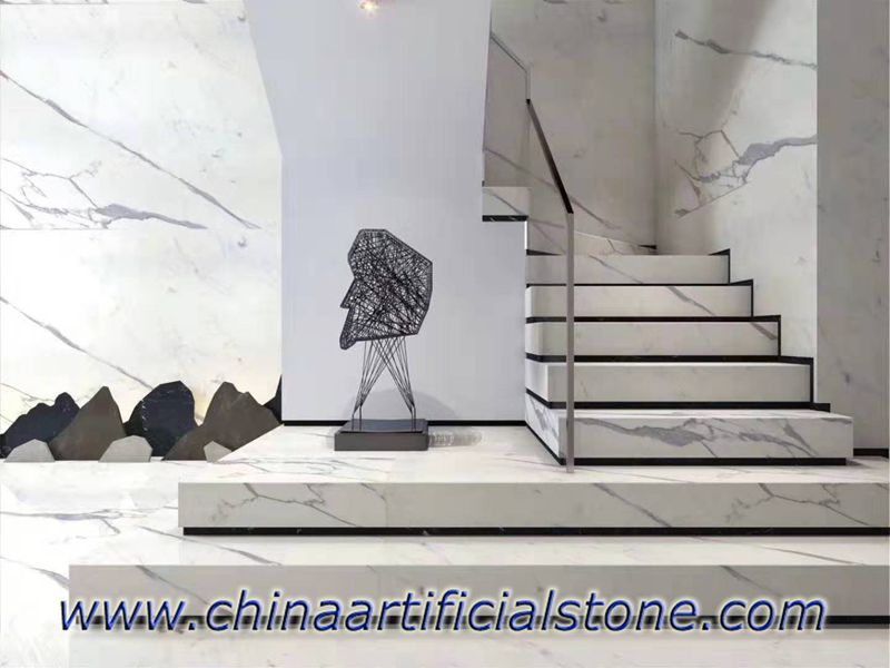 Calacatta White Marble Tiles for floor, wall and stpes