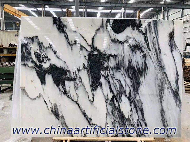 White Ink Marble Slabs