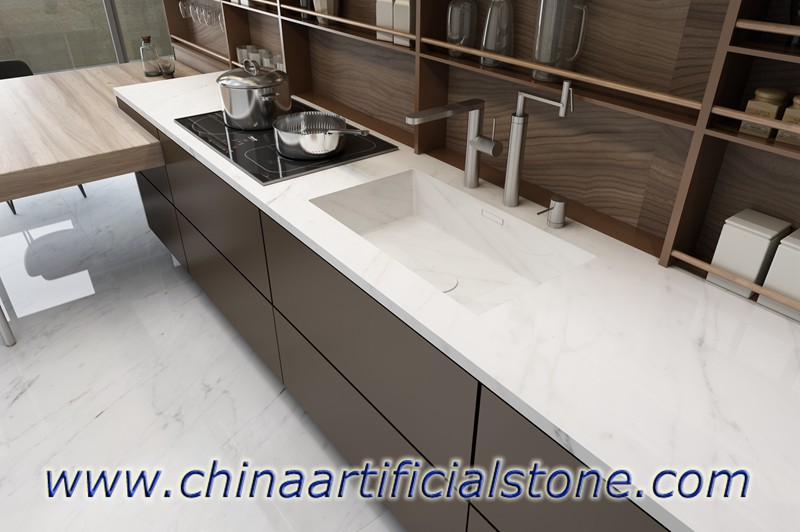 Carrara White Sintered Porcelain Slab Countertops