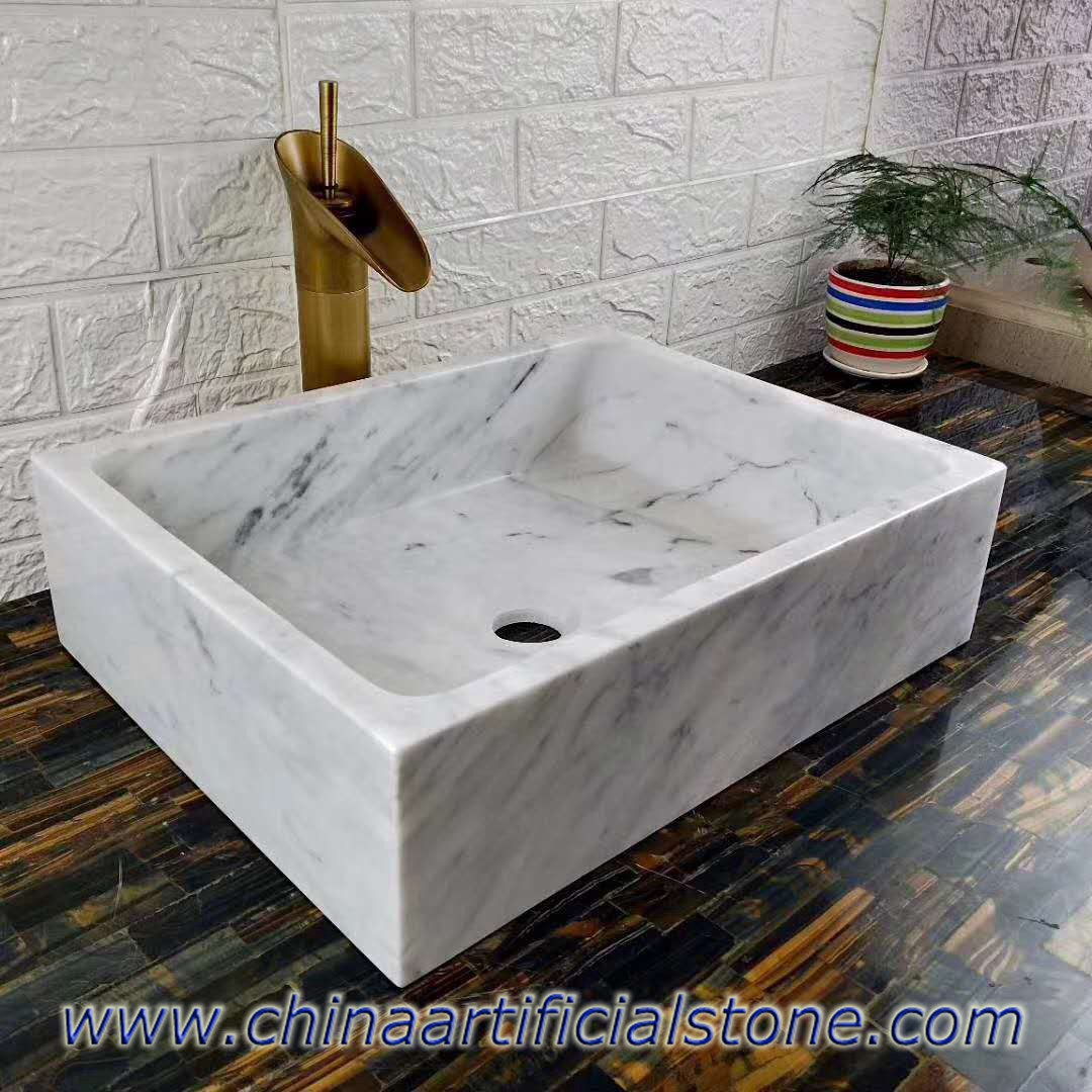 Carrara White Marble Retangle Basin 34x35x13cm