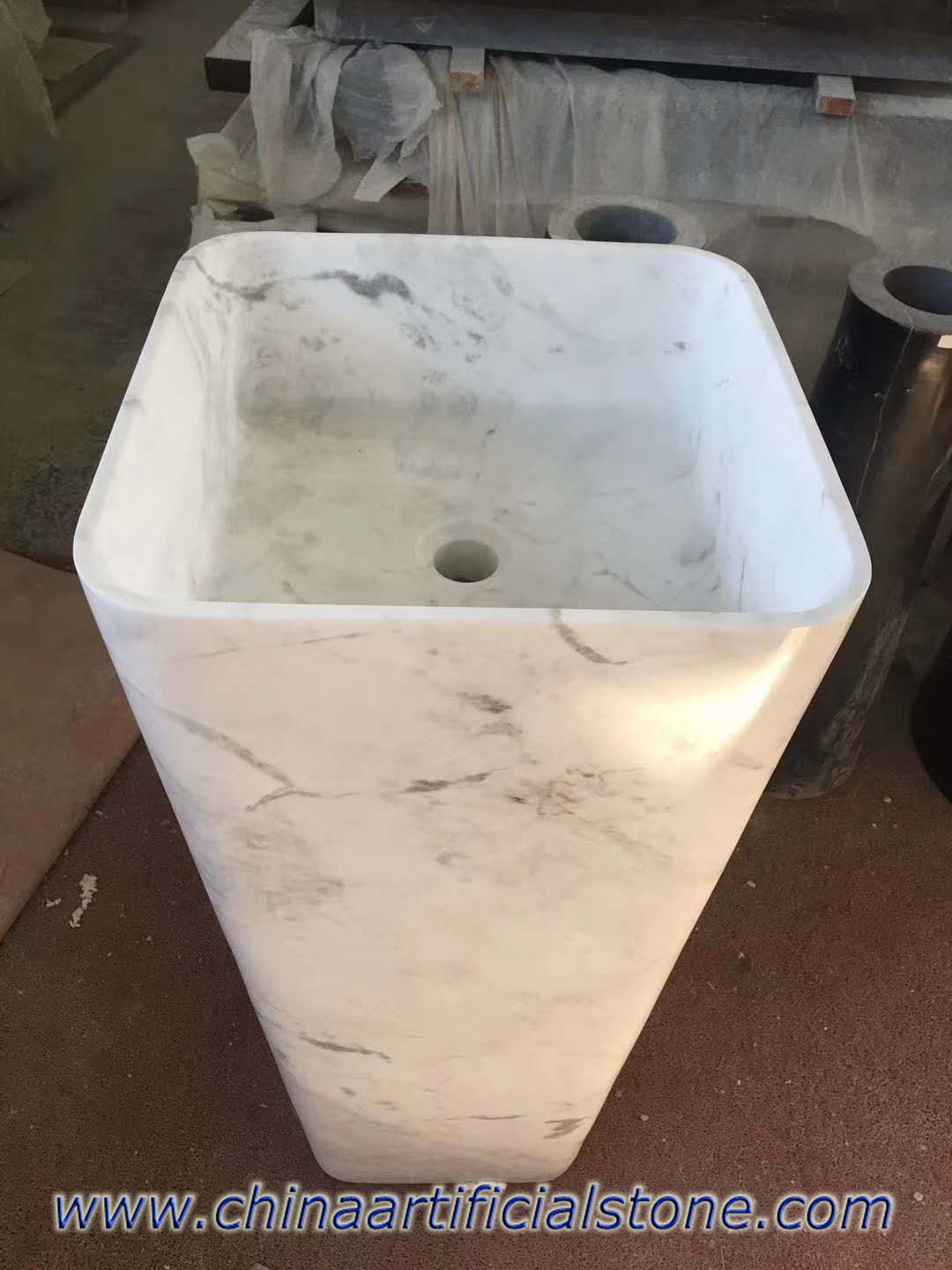 Volokas White Marble Square Pedestal Sinks