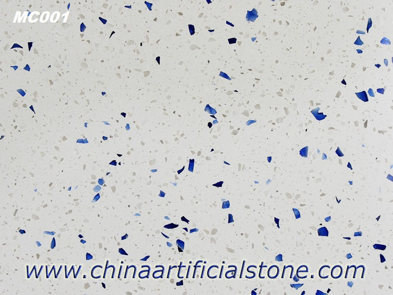 White with Blue Aggregate Terrazzo Tiles