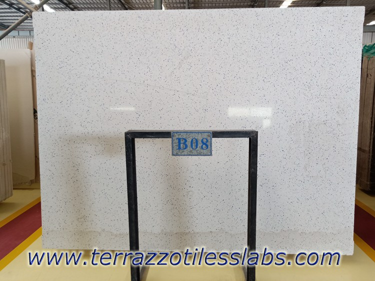White Terrazzo Slabs with Blue Aggregate
