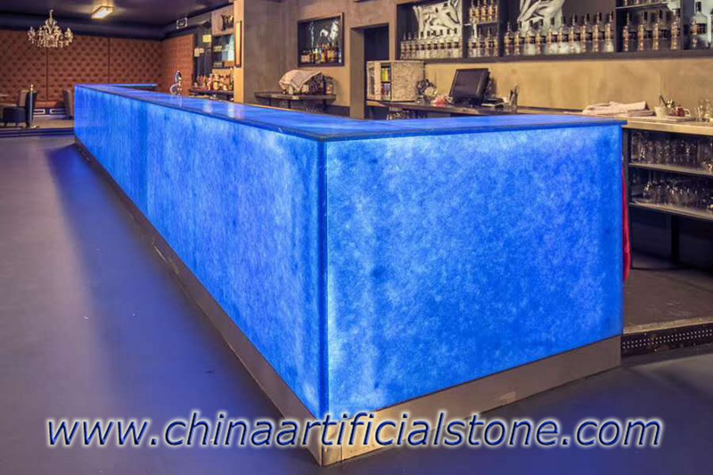 Ocean Blue Magna Glaskeramik Backlit Bar Top